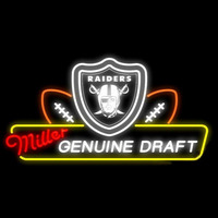 Miller Genuine Draft Oakland Raiders Real Neon Glass Tube Neon Signs Neon Sign