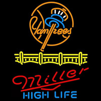 Miller High Life Blue New York Yankees Beer Sign Neon Sign