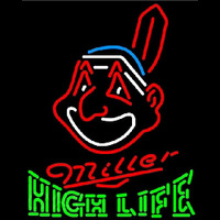 Miller High Life Cleveland Indians MLB Beer Sign Neon Sign