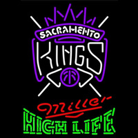 Miller High Life Green Sacramento Kings NBA Beer Sign Neon Sign