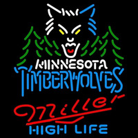 Miller High Life Minnesota Timberwolves NBA Beer Sign Neon Sign