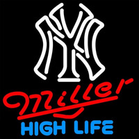 Miller High Life New York Yankees White MLB 16x16 Beer Sign Neon Sign