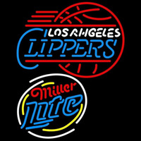 Miller Light Raunded Los Angeles Clippers NBA Beer Sign Neon Sign