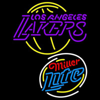 Miller Light Raunded Los Angeles Lakers NBA Beer Sign Neon Sign