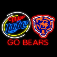 Miller Lite Chicago Bears Go Bears Real Neon Glass Tube Neon Signs Neon Sign