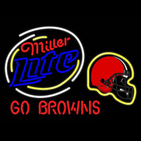 Miller Lite Cleveland Browns Real Neon Glass Tube Neon Sign Neon Sign