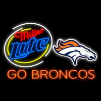 Miller Lite Denver Broncos Go Broncos Real Neon Glass Tube Neon Signs Neon Sign