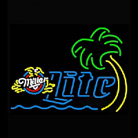 Miller Lite Eagle Palm Tree With Wave Neon Sign