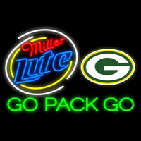 Miller Lite Green Bay Packers Go Pack Go Real Neon Glass Tube Neon Signs Neon Sign