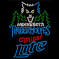 Miller Lite Minnesota Timberwolves NBA Beer Sign Neon Sign