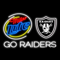 Miller Lite Oakland Raiders Go Raiders Real Neon Glass Tube Neon Signs Neon Sign