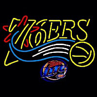 Miller Lite Philadelphia 76ers NBA Beer Sign Neon Sign