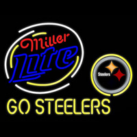 Miller Lite Pittsburgh Steelers Go Steelers Real Neon Glass Tube Neon Sign Neon Sign