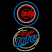 Miller Lite Raunded Chicago Cubs MLB Beer Sign Neon Sign