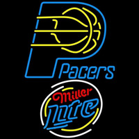 Miller Lite Raunded Indiana Pacers NBA Beer Sign Neon Sign