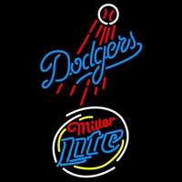 Miller Lite Raunded Los Angeles Dodgers MLB Beer Sign Neon Sign
