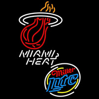 Miller Lite Raunded Miami Heat NBA Beer Sign Neon Sign