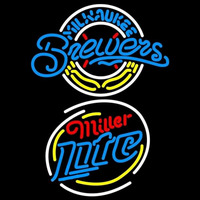 Miller Lite Raunded Milwaukee Brewers MLB Beer Sign Neon Sign