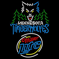 Miller Lite Raunded Minnesota Timberwolves NBA Beer Sign Neon Sign