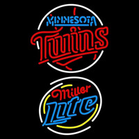 Miller Lite Raunded Minnesota Twins MLB Beer Sign Neon Sign