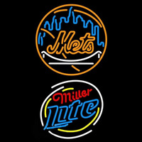 Miller Lite Raunded New York Mets MLB Beer Sign Neon Sign
