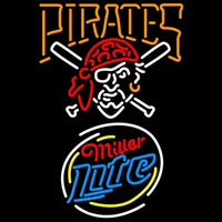 Miller Lite Raunded Pittsburgh Pirates MLB Beer Sign Neon Sign
