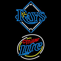 Miller Lite Raunded Tampa Bay Rays MLB Beer Sign Neon Sign