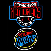 Miller Lite Raunded Washington Nationals MLB Beer Sign Neon Sign