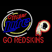 Miller Lite Washington Redskins Go Redskins Real Neon Glass Tube Neon Sign Neon Sign