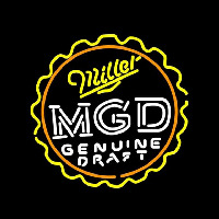 Miller MGD Bottle Cap Beer Sign Neon Sign