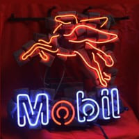 Mobil Oil Gas Shop Neon Sign