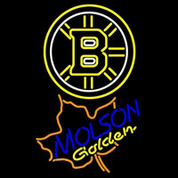 Molson Golden Maple Leaf With Boston Bruins Beer Sign Neon Sign