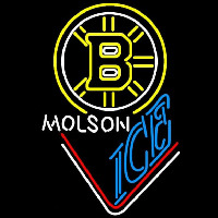 Molson Ice With Boston Bruins Beer Sign Neon Sign