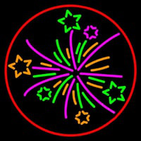 Multi Color Fire Works 1 Neon Sign