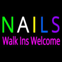 Multi Colored Nails Walk Ins Welcome Neon Sign