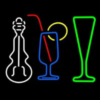 Music Instrument Glass And Bottle Neon Sign