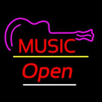Music Logo Open Yellow Line Neon Sign