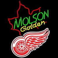 NHL Detroit Red Wings with Molson Golden Maple Leaf Neon Sign Neon Sign