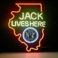 New Jack Daniels Lives Here Illinois Old #7 Whiskey Neon Sign