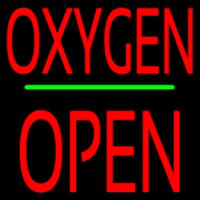 O ygen Block Open Green Line Neon Sign