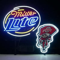 Ohio State Buckeyes Brutus Miller Lite Beer Real Neon Sign