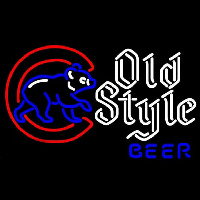 Old Style Chicago Cubs Walking Cubby Beer Sign Neon Sign