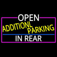 Open Additional Parking In Rear With Pink Border Neon Sign