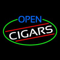Open Cigars Oval With Green Border Neon Sign