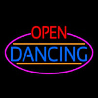 Open Dancing Oval With Pink Border Neon Sign