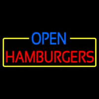 Open Hamburgers Neon Sign