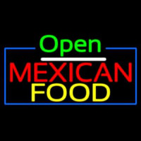 Open Me ican Food With Blue Border Neon Sign