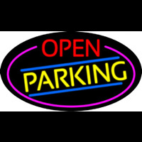 Open Parking Oval With Pink Border Neon Sign