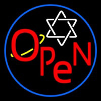 Open Psychic Blue Border Neon Sign