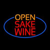 Open Sake Wine Oval With Blue Border Neon Sign